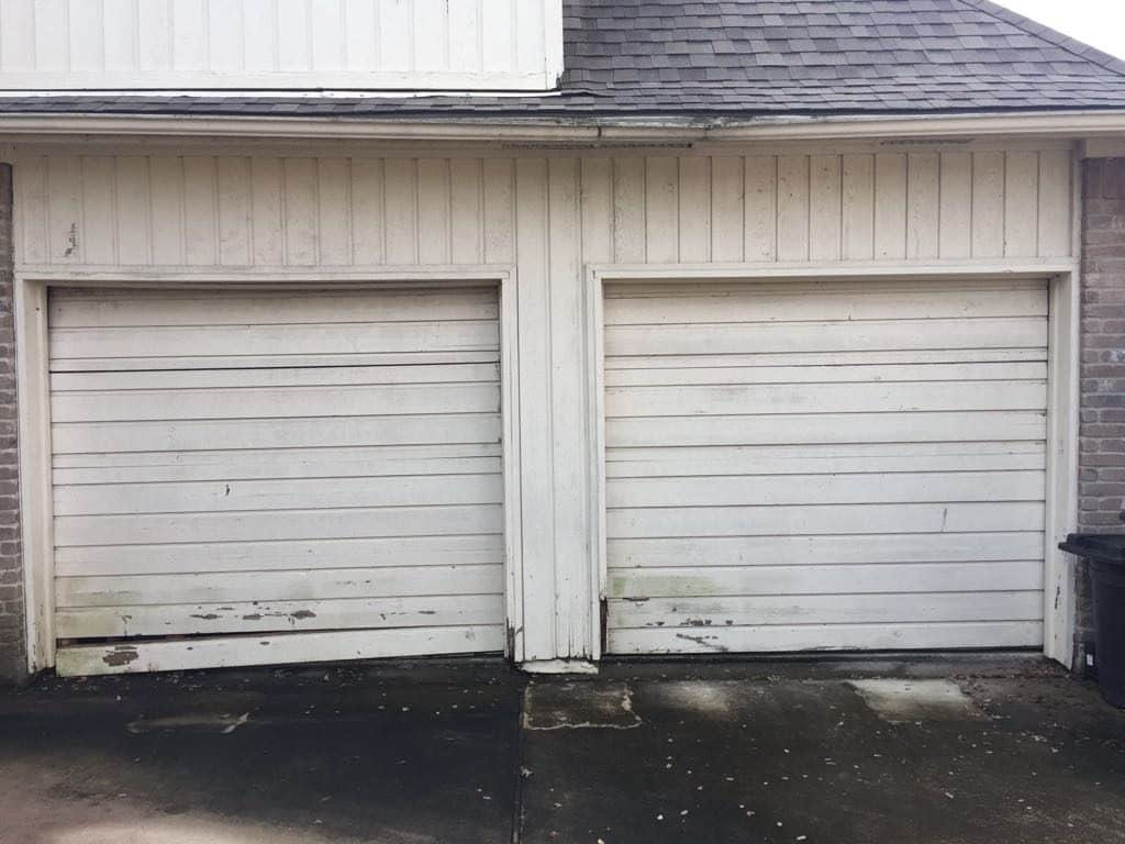 before- 2 garage door into 1