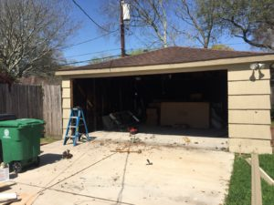 2 garage doors to 1 conversion houston-during
