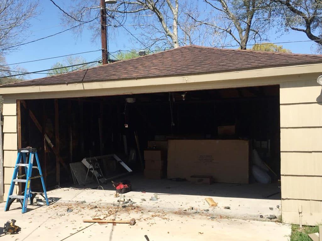 2 garage door to1conversion-during